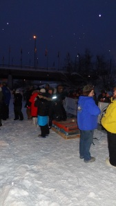 The Yukon Quest finish line podium