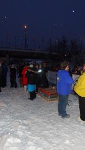 The Yukon Quest finish line podium